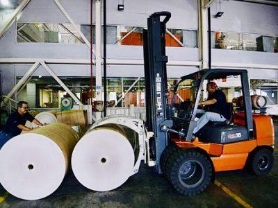 Xe nâng kẹp giấy cuộn Heli