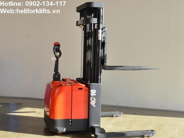Xe nâng điện đứng lái 1.6 tấn chân rộng dùng cho các loại pallet